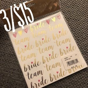 NWT Bride Tribe Bachelorette Gold Foil Sticker Set